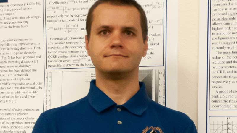 Diné College Associate Professor Dr. Oleksandr Makeyev presenting his research.