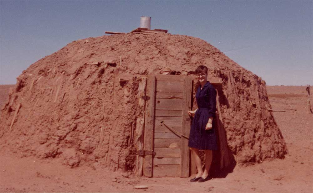 Joy Reich conducting a home visit on the reservation in 1965